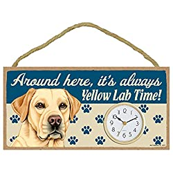 Around Here, It's Always Yellow Lab Time! 10W x 5H Wall or Desk Dog Clock with Bonus I Love My Dog Decal