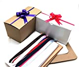 PEPPERLONELY 10PC White and Kraft Gift Boxes 9'' x 4.5'' x 4.5'', Plus 10PC Pull Bows and Tissue Paper