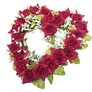 Romantic Heart Shaped Artificial Flower Wreath Decoration Hanging Wreaths Flowers Garland With Silk Ribbon Wedding Decoration F2 6 30