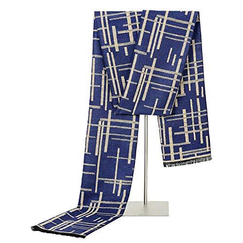Men Wool Winter Artificial Geometry Warm Pattern Sciarpe Scarf Tassel Amdxd Lattice Blue 180cm ngB4Bx