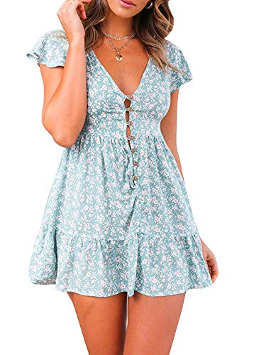 - GAMISOTE Women's Sexy Deep V Neck Floral Print Ruffle Short Sleeve Summer Short Mini Dress Green