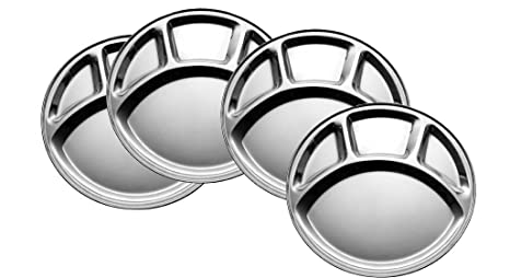 King International 100% Stainless Steel Four in one Dinner Plate Four sections ided plate Four  sc 1 st  Amazon.com & Amazon.com | King International 100% Stainless Steel Four in one ...