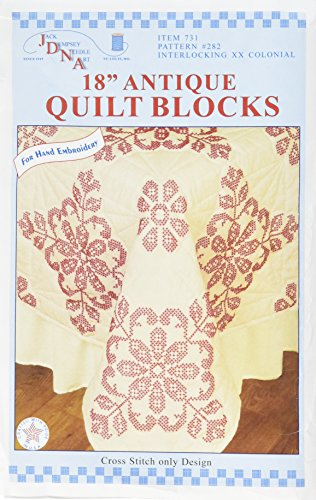 Jack Dempsey Stamped Ecru Quilt Blocks, 18 by 18-Inch, Interlocking XX Colonial, - Quilt Art Block