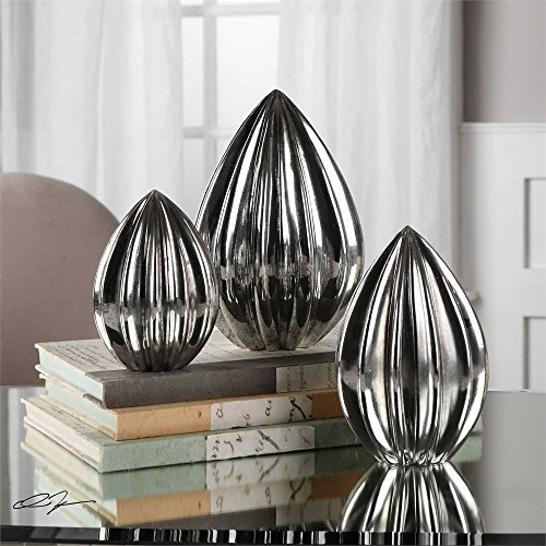 Vhomes Lights Gerardo Ribbed Silver Finials S/3 Designed by Billy ()