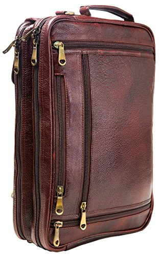 Urban Leather 16 Inch 3-in-1 Full Grain Handmade Dark Tan Bagpack-Handbag-Sling Laptop Ipad Leather Bag by Urban Leather (Image #4)