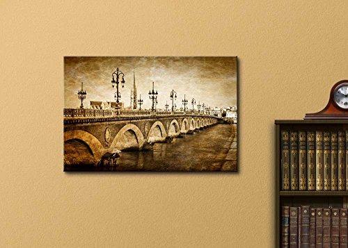 Bordeaux River Bridge with St Michel Cathedral Vintage Retro Style Wall Decor