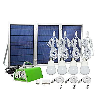 GMFive Lithium Battery - 30W Panel Solar Home System Kit - including Cell Phone Charger - 4 LED Lights