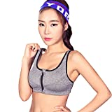 MTSCE Yoga Bra Zip Front Removable Pads High Impact Sports Bra for Fitness Workout (L Fits for 32DD 34D 36C 36D 38A 38B)