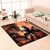 Nalahome Custom carpet ent Decor Tropical Theme The Silhouette of Palm Trees at Sunset Digital Print Orange Dark Orange area rugs for Living Dining Room Bedroom Hallway Office Carpet (4 X 6)