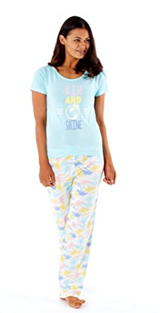 Selena Secrets Ladies Short Sleeve Pure Cotton Long Pyjamas LN406 Aqua 16 18 9f9e4d390377