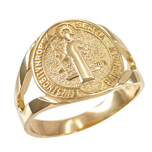 - 14K Yellow Gold Saint Benedict Medallion Ring (Size 9)