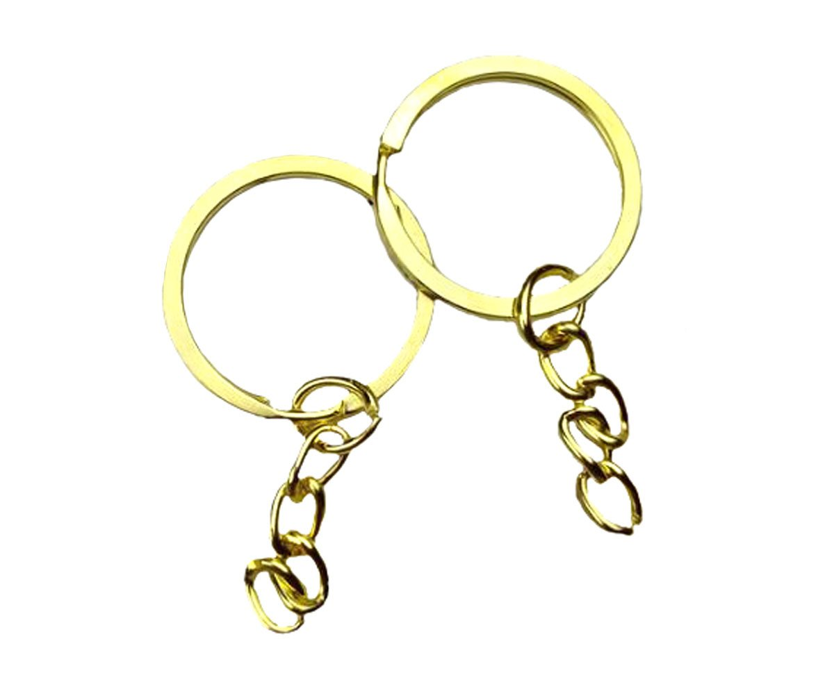 100 Pcs Jewelry Making Key Ring with Chains - Metal Key Chain Ring for DIY Craft Jewelry Making (Bronze, 28 mm) Nicedmm
