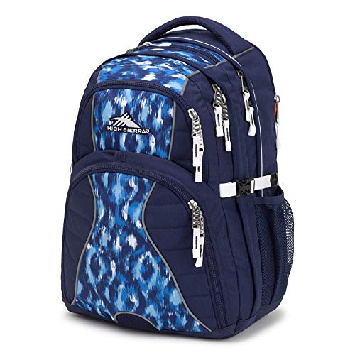High Sierra Swerve Laptop Backpack, 17-inch Laptop Backpack for High School or College (True Navy/Island Ikat/White)
