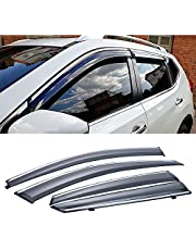 Vesul Tape on/Clip on Wind Deflector Polycarbonate Rain Guard Fit for Nissan Rogue 2021 Window Visor Window Shield Cover Sun Ventshade with 304 Stainless Steel Trim Smoke Gray