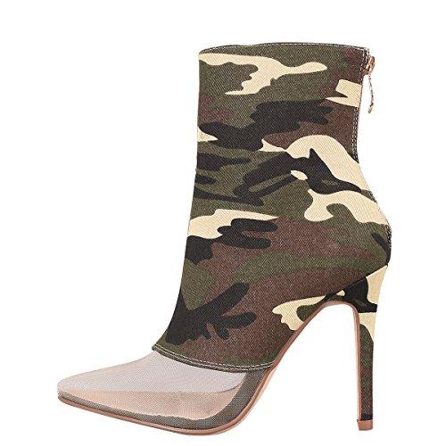 Cape Robbin Vrouwen Wandtapijt Pure Mesh Puntige Teen Stiletto Hoge Hak Enkellaarsjes Laarzen Camouflage