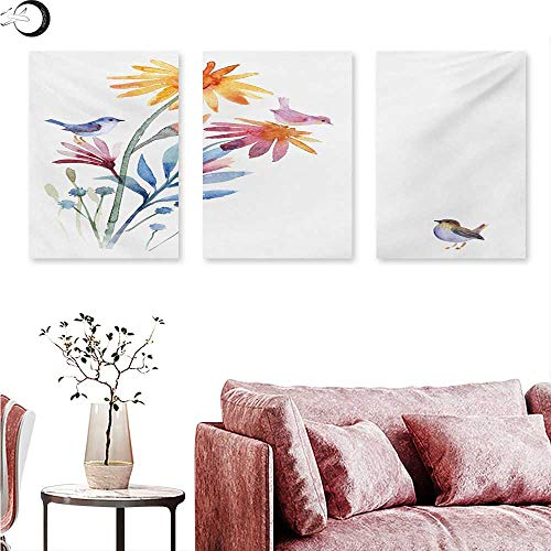 Mannwarehouse Watercolor Canvas Print Wall Art Springtime Flowers with Birds Unusual Color Scheme Brush Effect Triptych Photo Frame Slate Blue Amber Levander W 20