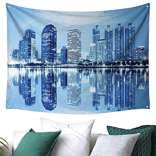 WilliamsDecor Blue Tapestry for Living Room Night Scene of City Buildings Architecture Twilight Water Reflection Metropolitan Festival Flags 60W x 51L Inch Blue Pale Blue
