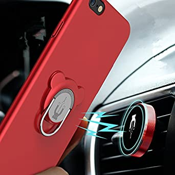 black iphone 6//6s Case with 360/°Rotation Phone Ring Holder and Magnetic Phone Car Mount 3 in 1 Integrated Design for Phone 6//6s