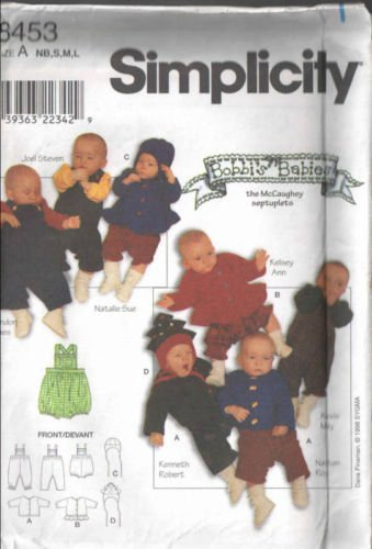 (Simplicity 8453 SEW Easy Baby Wardrobe Sizes Nb S M L or About 7-24 Lbs Infants, Sewing Pattern Included Are an Jacket Hat Overalls, Shortalls)