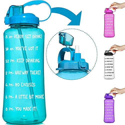 HydroMATE 3L & 1.5L Straw Motivational Water Bottle Time Marker Large BPA Free Jug Handle Time Marked Drink Marking Measures Track Daily Water Intake Hydro MATE 128 oz 64 oz (3 Liter, Turquoise)
