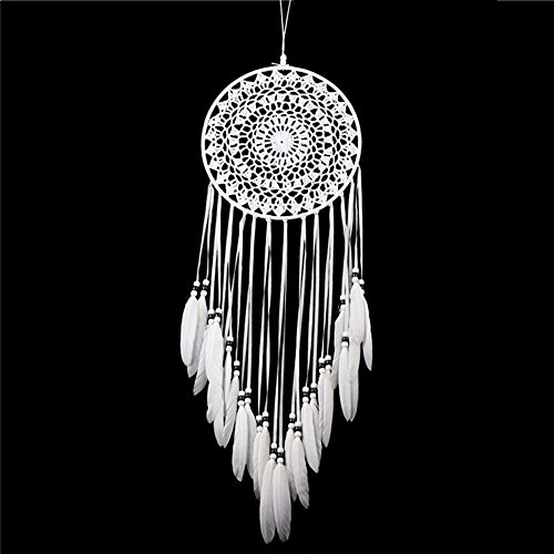Dream catcher Handmade Traditional White Feather Wall Hanging Car Hanging Home Decoration Ornament Decor Ornament Craft Gift