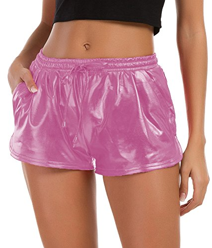 - Tandisk Women's Yoga Hot Shorts Shiny Metallic Pants with Elastic Drawstring (Pink, S)
