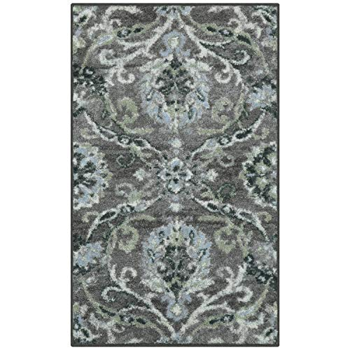 Better Homes and Gardens Distressed Scroll Living Room Area Rug or Runner, 1'8 x 2'10 Charcoal - Garden Scroll Floral Rug