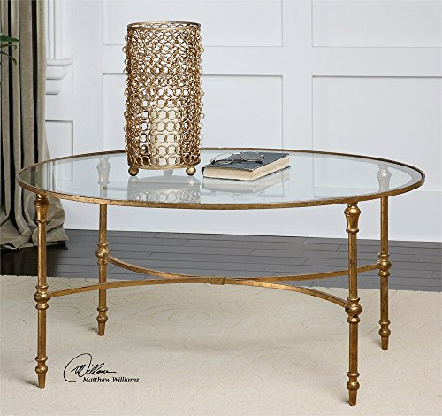 Elegant Oval Gold Iron Coffee Table