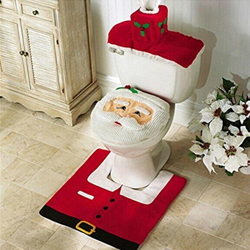 [Money coming shop New Year Best Gift Happy Christmas Santa Toilet Seat Cover & Rug Bathroom Set Christmas] (Barney Infant Costumes)