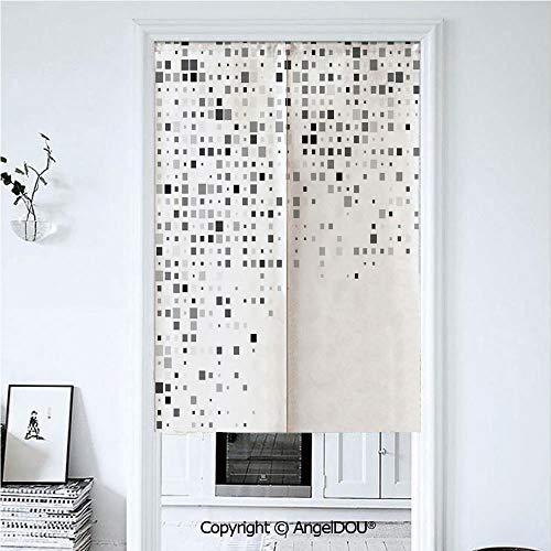 AngelDOU Grey Decor Japanese Durable Doorway Curtains Digital Pattern Composed of Geometric -