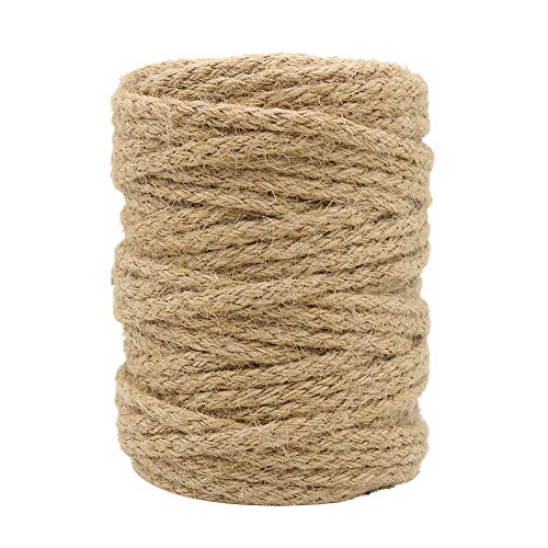Tenn Well 5mm Jute Twine, 100 Feet Braided Natural Jute Rope for Artworks and Crafts, Macrame Projects, Gardening -