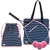 Ame & Lulu On Tour Ladies' Fashion Pack or Set – Large Tennis Court Bag Bundled with Matching Shoe Bag and a Can of Pink Tennis Balls