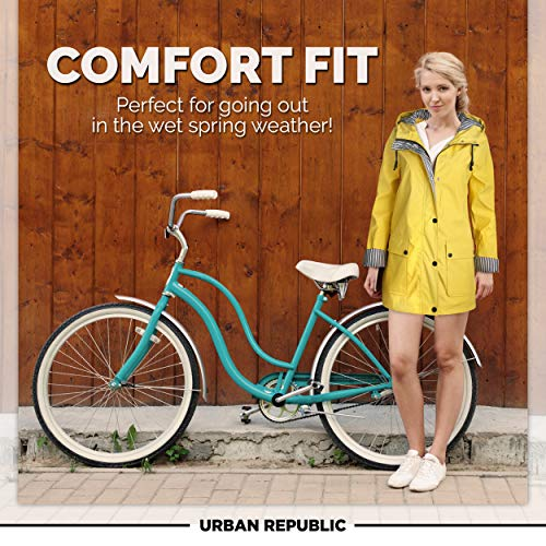 Urban Republic Women's Lightweight Vinyl Hooded Raincoat Jacket, Soft Yellow, Small'