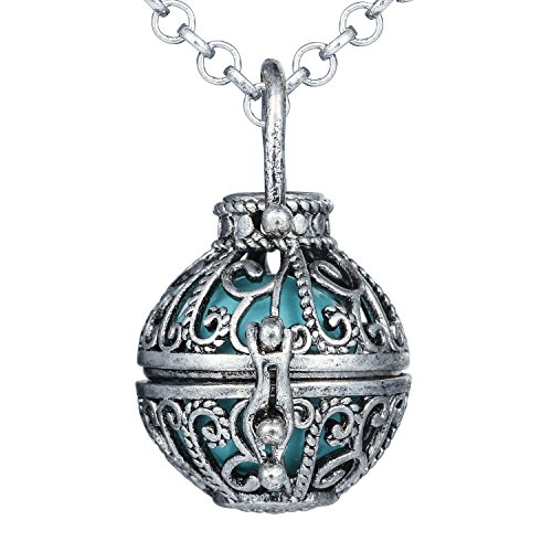 Bonnie 27 Inch Hollow Flower Chain Musical Angel Caller Pregnancy Ball Bell Pendant Necklace (Light Blue) -
