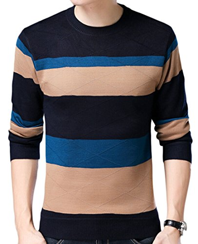 Sleeve Jumper Men's Long amp;S M Sweater Neck amp;W Stripe 5 Round Knit nqIxTA1x