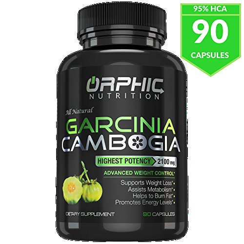 Orphic Nutrition Pure Garcinia Cambogia Extract 2100mg with 95% HCA for Fast Fat Burn - Best Natural Weight Loss Supplement, Appetite Suppressant and Carb Blocker for Men and Women
