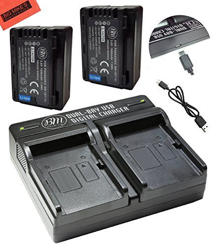 BM Premium 2 VW-VBT190 Batteries and Dual Battery Charger for Panasonic HC-V800K, HC-VX1K, HC-WXF1K, HCV510, V520, V550, V710, HCV720, HC-V750, HC-V770, HC-VX870, HC-VX981, HC-W580, HC-W850, HC-WXF991