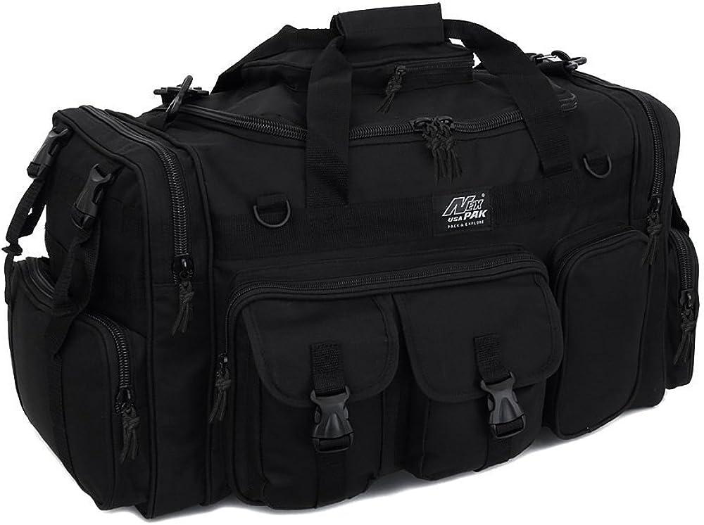 "NPUSA Mens Black Large 26"" Duffel Duffle Military Molle Tactical Gear Shoulder Strap Travel Bag"