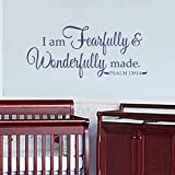 BATTOO I Am Fearfully And Wonderfully Made Psalm 139:14 Nursery Vinyl Decal 50''w Christian Wall Art Religious Wall Decal, Dark Blue
