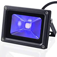 UV Black Light, CHINLY Outdoor High Power 10W Ultra Violet LED Flood Light, IP65-Waterproof for DJ Disco Night Clubs, Blacklight Party, Stage Lighting, Fluorescent effect, Neon Glow, Glow in the dark, Fishing, Aquarium, Curing