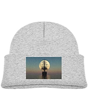 Kids Knitted Beanies Hat Sunset Pirate Boat in The Sea Winter Hat Knitted Skull Cap for Boys Girls Black