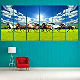 Ray Decor Seven Horses Wall Painting (Sunboard, 48 Inch X 24 Inch, 7 Pieces)