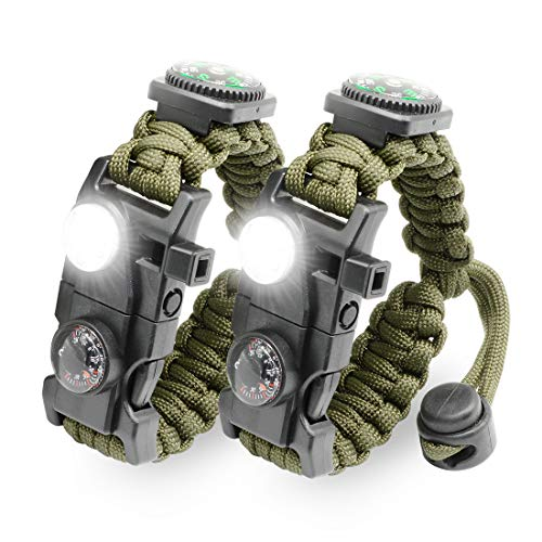 LeMotech 21 in 1 Adjustable Paracord Survival Bracelet, Tactical Emergency Gear Kit Includes SOS LED Flashlight, Bigger Compass, Thermometer, Rescue Whistle and Fire Starter (Army Green (2pcs))
