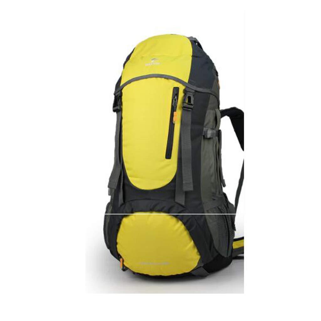 屋外バックパック ハイキングアウトドアバックパックキャンプバッグ60リットルプロフェッショナル登山バッグ防水大容量旅行バックパック HBJP (色 : 黄)  黄 B07RHYQSNB