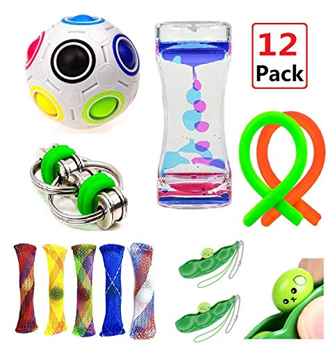 Sensory Fidget Toys Bundle-Liquid Motion Timer/Rainbow Ball Magic Cube/Bike Chain/Stretch Strings Fidget and Squeeze Toys for ADHD Autism Anxiety Reliever by Fi-gent