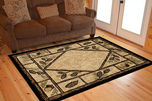 Rustic Lodge Wooded Pine Cone 8x10 Area Rug, 7'10x9'10