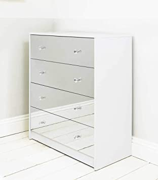Addspace Four Drawer White Mirrored Chest of Drawers Cabinet Storage Unit  Bedroom