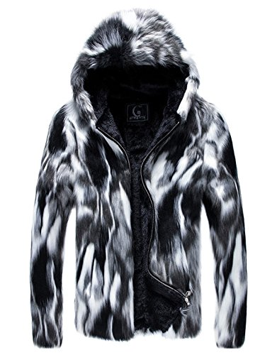 Fengbay Men's Fashion Color-Block Short Fake Mink Coat Warm Zipper Outfits Faux Fur Jacket 2XL ()