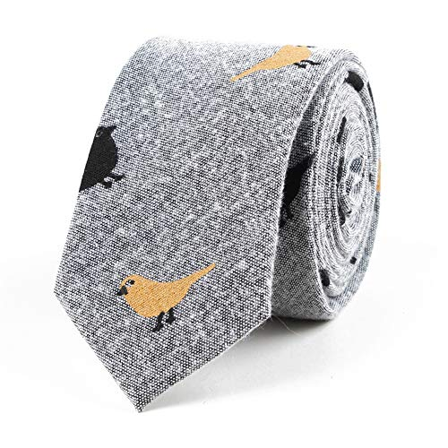 Kineede Bird Pattern Linen Necktie Ties for Wedding Texudo Neck Tie Skinny Tie (44)