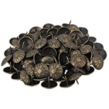 BQLZR 19 x 15mm Vintage Bronzy Upholstery Nails Antique Brass Daisy Tacks Studs Pins Furniture Decor Pack Of 100